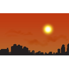 silhouette city at sunset vector image