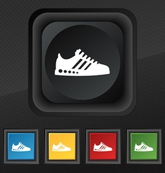 Sneakers icon symbol Set of five colorful stylish vector image