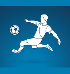 Soccer player hit the ball bicycle kick vector