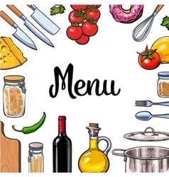Square vegetable kitchenware cheese and pasta vector