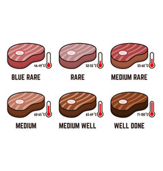 steak doneness with temperature value scheme vector image