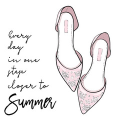 Summer quote elegant fashion shoes sandals vector