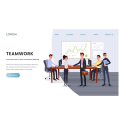 Teamwork business coaching landing page template vector