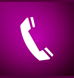 telephone handset icon on purple background vector image