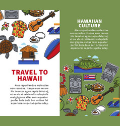 Travel to hawaii vertical posters with national vector