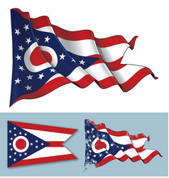 Waving flag of the state of ohio vector