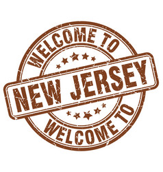 Welcome to new jersey brown round vintage stamp vector