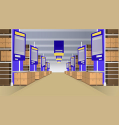 wholesale with rows of shelves vector image