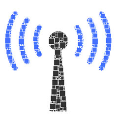 wi-fi station collage of squares and circles vector image