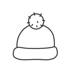 Winter hat with pom pom linear icon vector