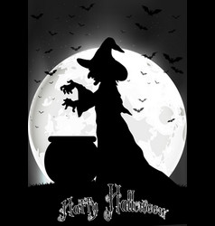 Witch cooks on full moon vector