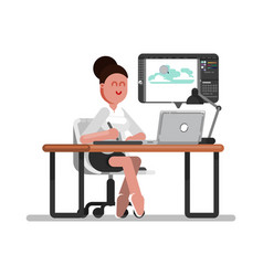 Woman designer doing on tablet vector