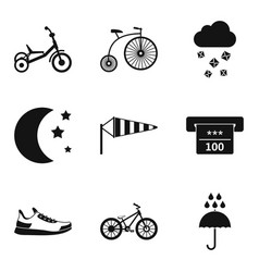 Women training icons set simple style vector