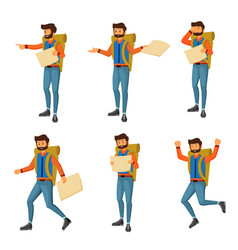 young man traveler with backpack vector image