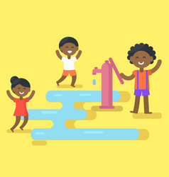 african children play with water vector image