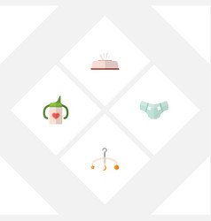 flat baby set of nappy mobile tissue and other vector image vector image