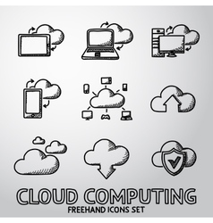 Set of handdrawn Cloud Computing icons vector image vector image