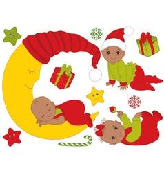 African American Christmas Babies Set vector image vector image