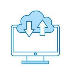 Computer desktop with cloud computing vector