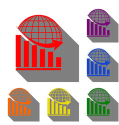 declining graph with earth set of red orange vector image vector image