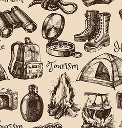 Hike and camping tourism hand drawn vintage vector image