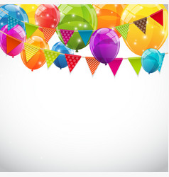 Party Background with Flags and Balloons vector image