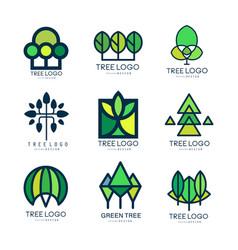 Tree logo original design set of vector