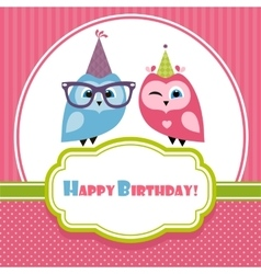 Birthday card with two owls vector
