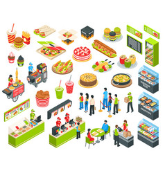 fast food isometric cort set vector image