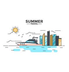 flat line design hero image - yacht vector image vector image