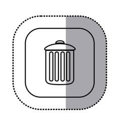 Monochrome contour with square sticker of trash vector