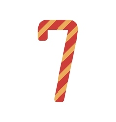 number seven design with diagonal colorful striped vector image