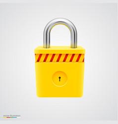 yellow striped padlock vector image
