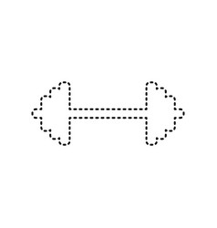 dumbbell weights sign black dashed icon vector image