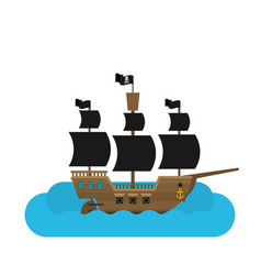 flat pirate ship in sea vector image vector image