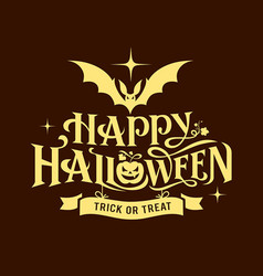 happy halloween message silhouette design vector image