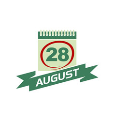 28 august calendar with ribbon vector