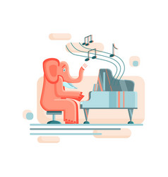 A funny elephant sits on a chair and plays the vector