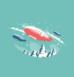 Airships in air above snowy mountains vector