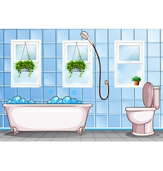 Bathroom with bathtub and toilet vector