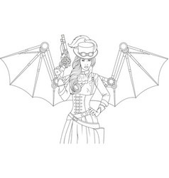 beautiful girl with a steampunk gun vector image