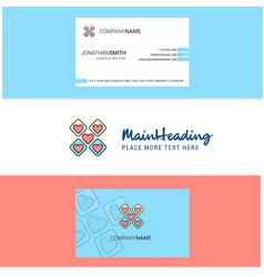 beautiful hearts blocks logo and business card vector image