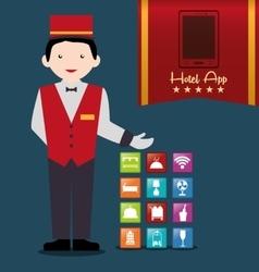 Bellboy and hotel digital apps design vector