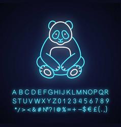 Big panda neon light icon vector
