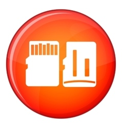 Both sides of SD memory card icon flat style vector