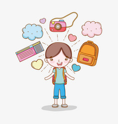 boy with backpack and camera to adventure travel vector image