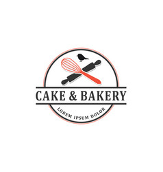 Cake bakery kitchen logo with cooking tool element vector
