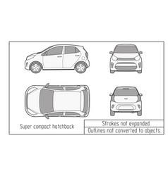 Car template on white background hatchback vector