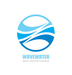 Clean water waves logo template concept vector
