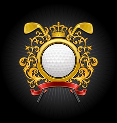 Coat of arms golf symbol vector